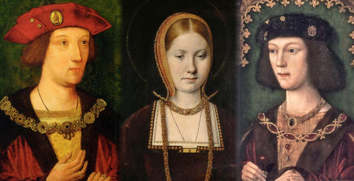 Arthur Tudor Prince of Wales c 1500 (Unknown artist), Katherine of Aragon (Michel Sittow),  HenryVIII 1509  (Unknown artist),