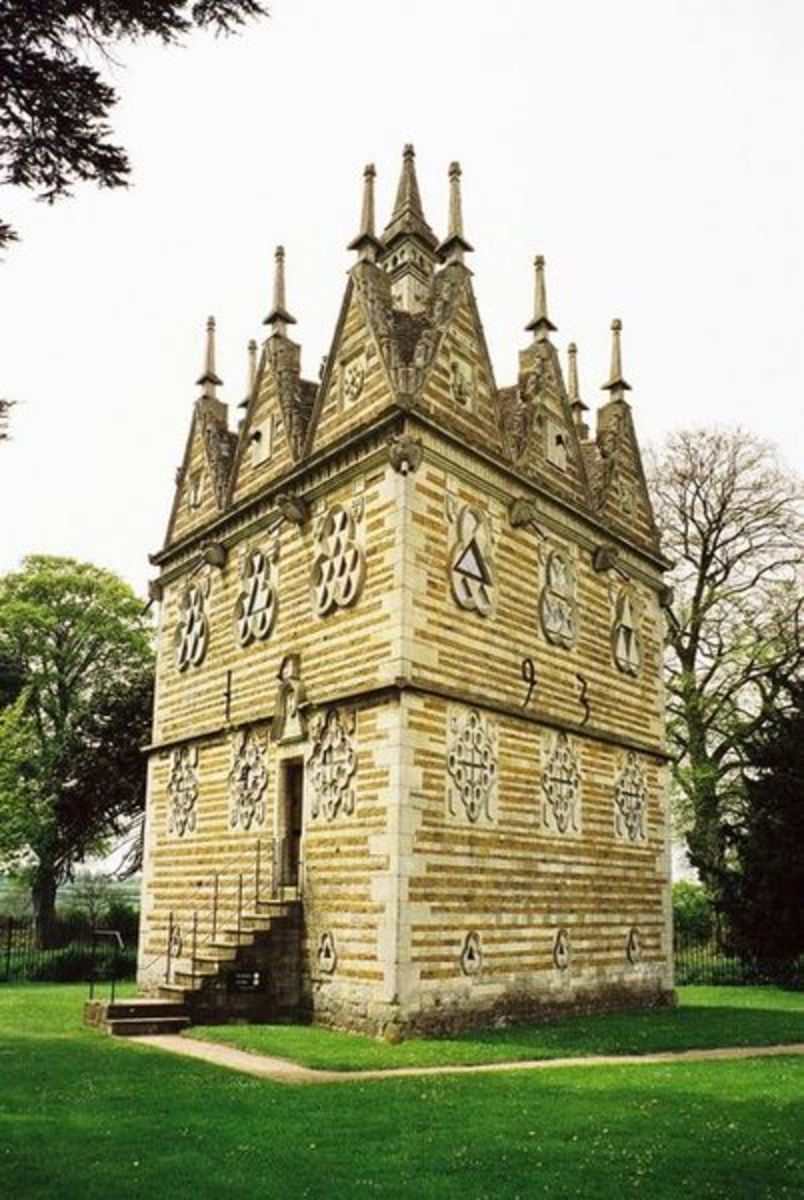 See: http://en.wikipedia.org/wiki/File:Rushton_Triangular_Lodge.jpg