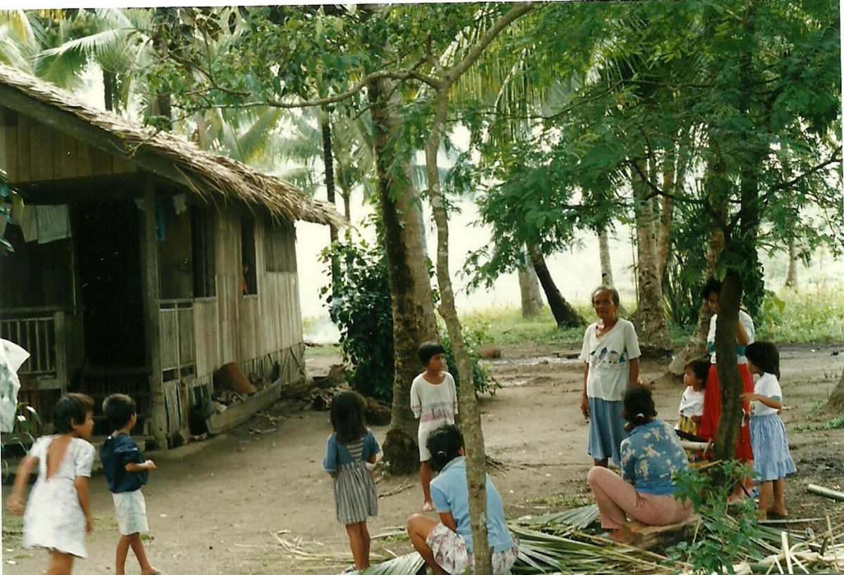 Relatives making Nipa Roof for a house.