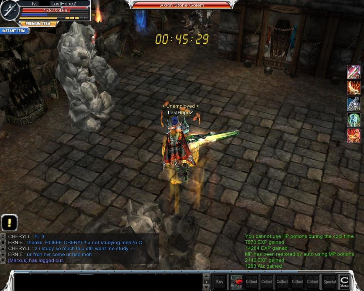 Kill Axion Stone Golem.