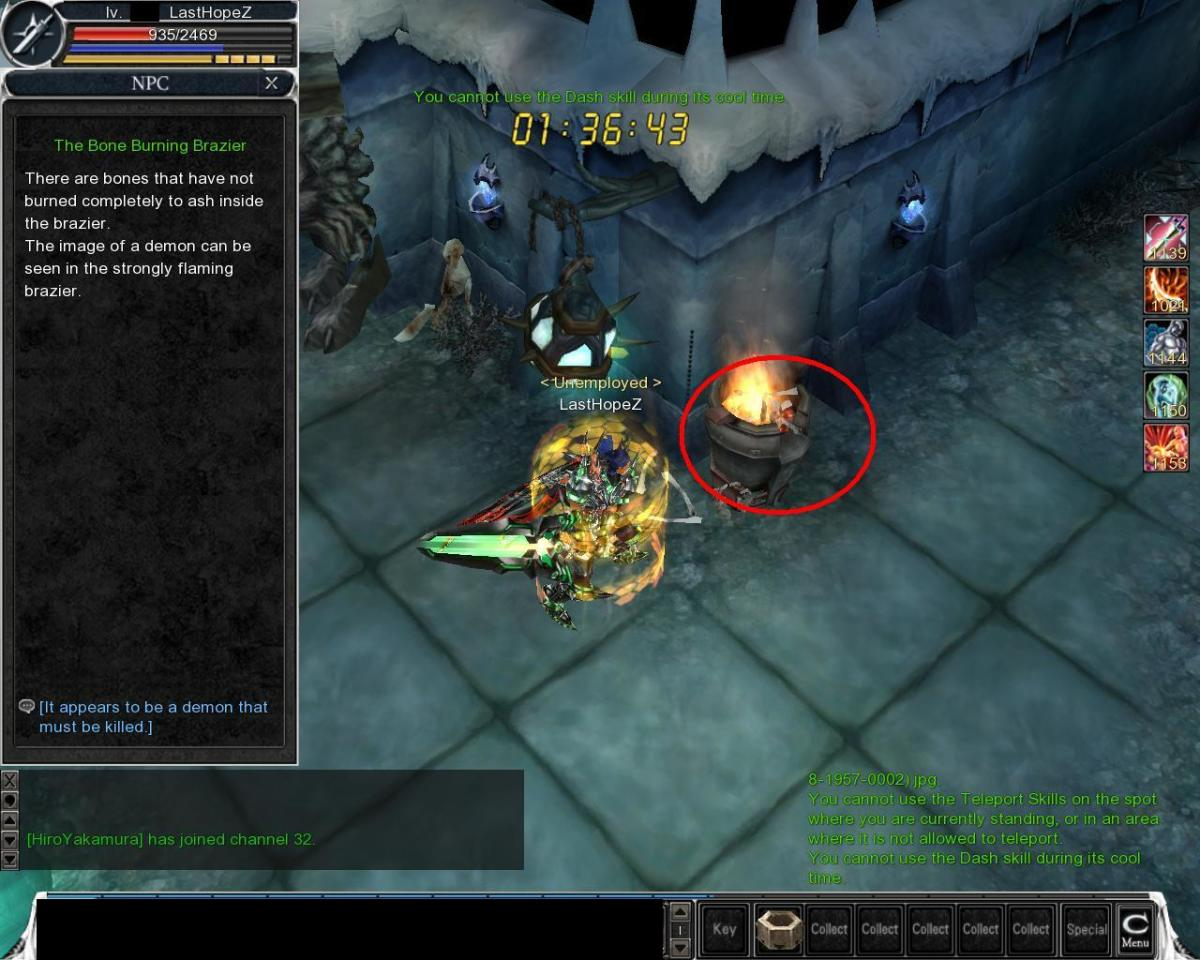 After that QUICKLY click the brazier to activate the barrier to block the Ice Ghoul Warrior from following you behind.