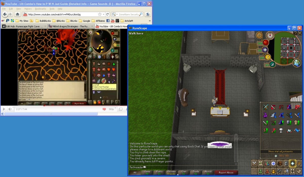 Screen on max resolution;  Minimized Youtube window showing video;  Minimized Runescape window to practice in