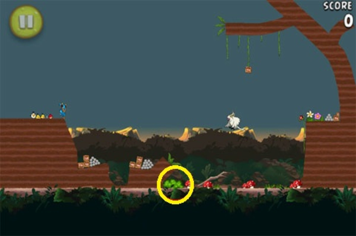 In the bushes, bounce something of a mushroom to get this gold banana.