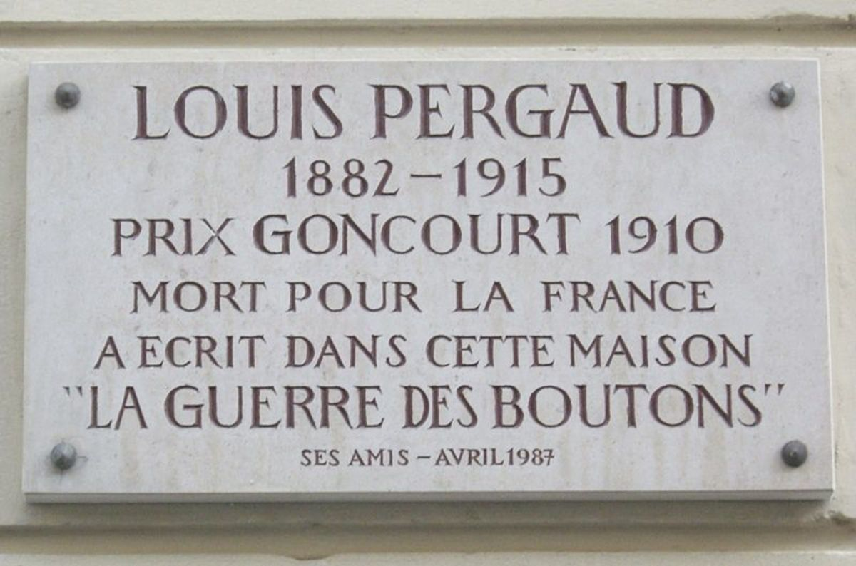Commemorative plaque at 3 rue Marguerin, Paris 14e Where Louis Perfaud wrote the book La Guerre des Boutons