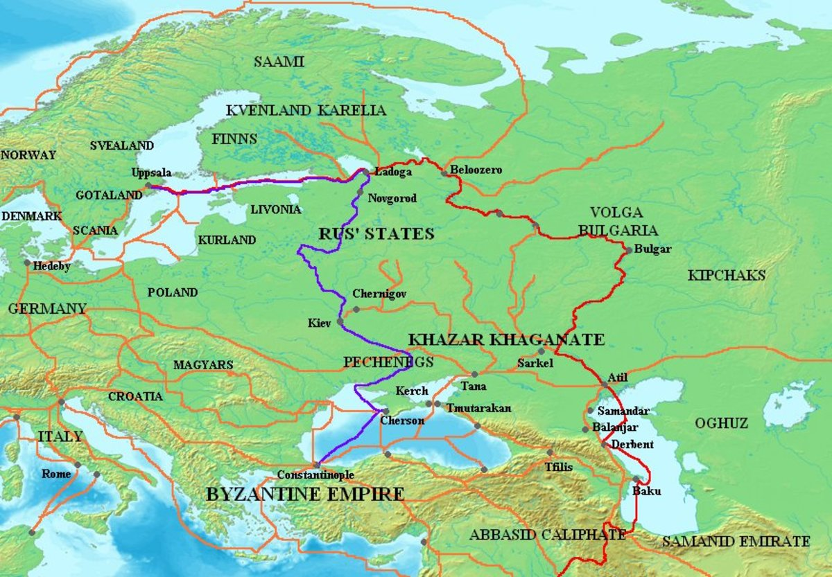 The way east - after the death of his half-brother Olaf at Stiklestad, on August 31st,  Harald was smuggled out of harm's way, east first to Sweden and on to Holmgard (Novgorod) before going south to Miklagard (Constantinople)