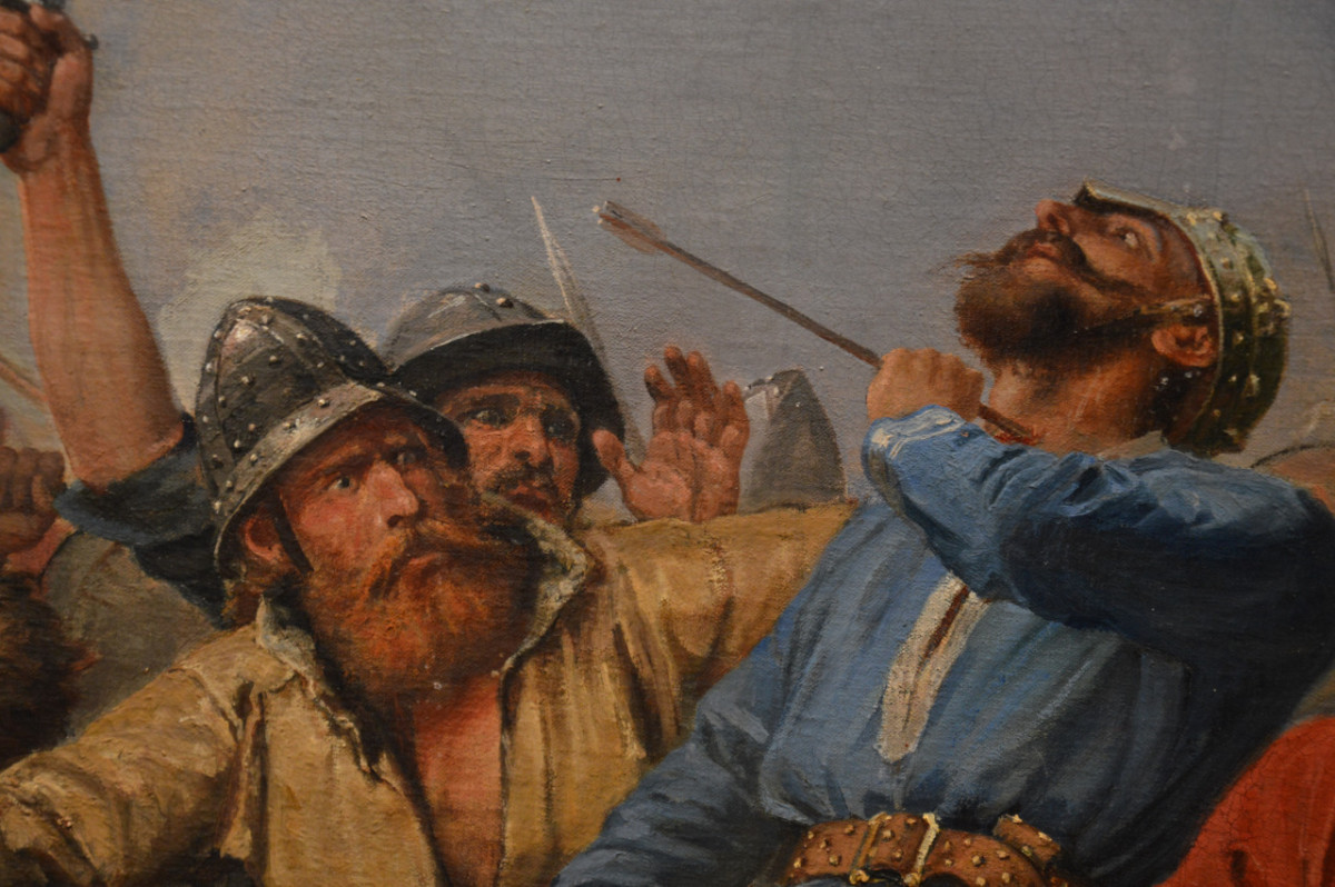 Detail of a painting that depicts Harald's end through an English arrow to the throat. Fighting to the death, he would have taken a long time to die, dropping to his knees out of sight behind the Norse shieldwall