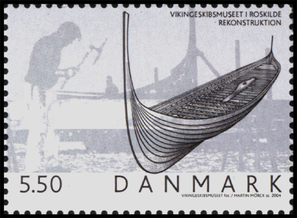 Danish stamp commemmorating the location of three ships at Skuldelev, sunk to prevent Harald's fleet landing in Roskilde Fjord