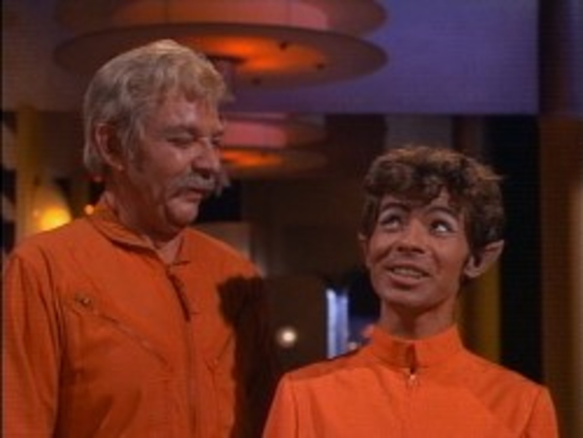 """Col. Fogey (Woodrow Parfrey) and J-5 (Lou Wagner) aboard the """"haunted lighthouse""""."""
