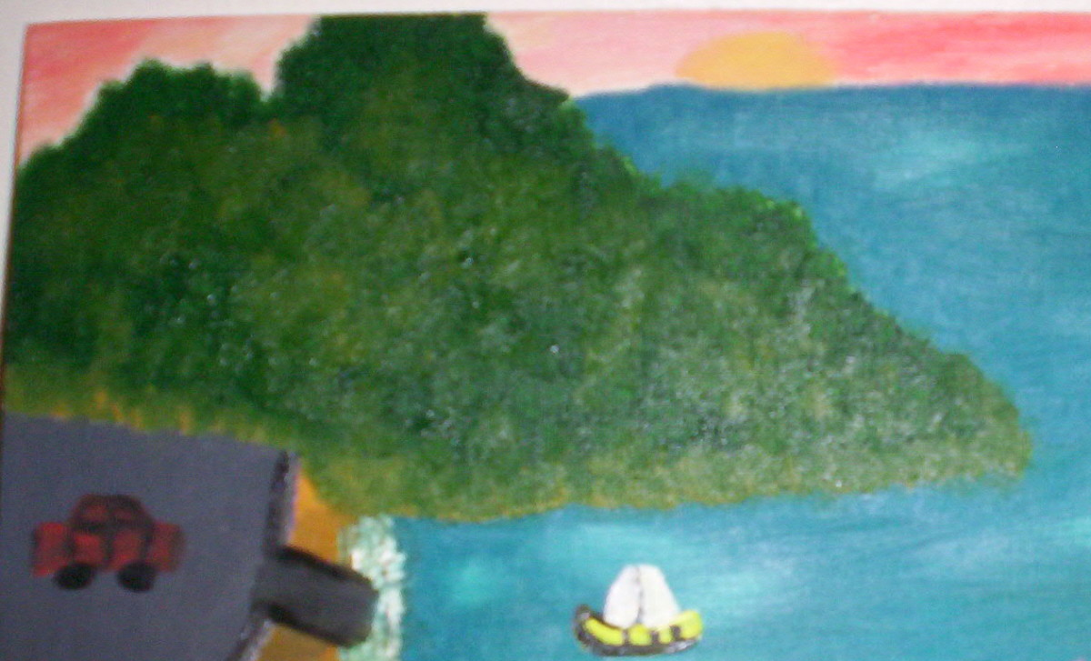 A portion of an oil painting, of Garden Island.