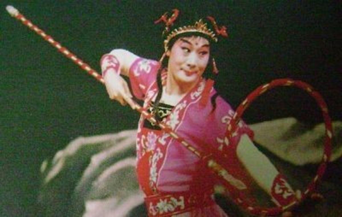 "Pei Yanling in one of her famous roles ""Nazha Wreaking Havoc in the Sea""."