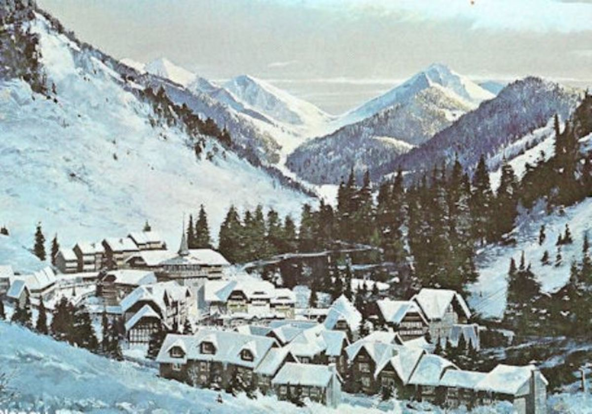"A 1960's Artists Rendering of what the ""Disney Mineral King Ski Resort"" might have looked like."