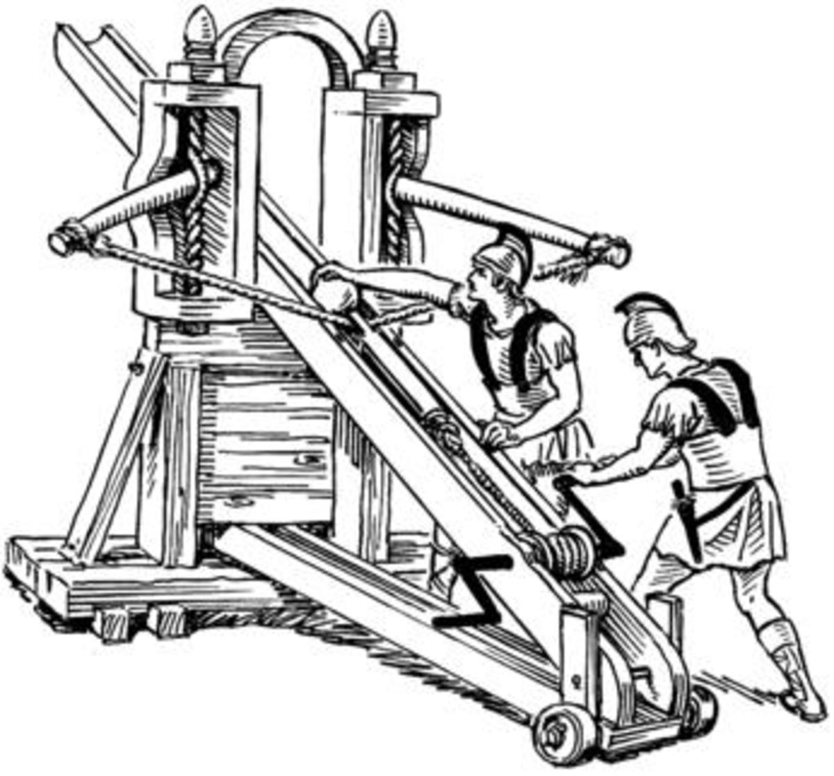 The ballista: A siege weapon utilizing the same principles as the crossbow that fired bronze bolts capable of piercing armor.