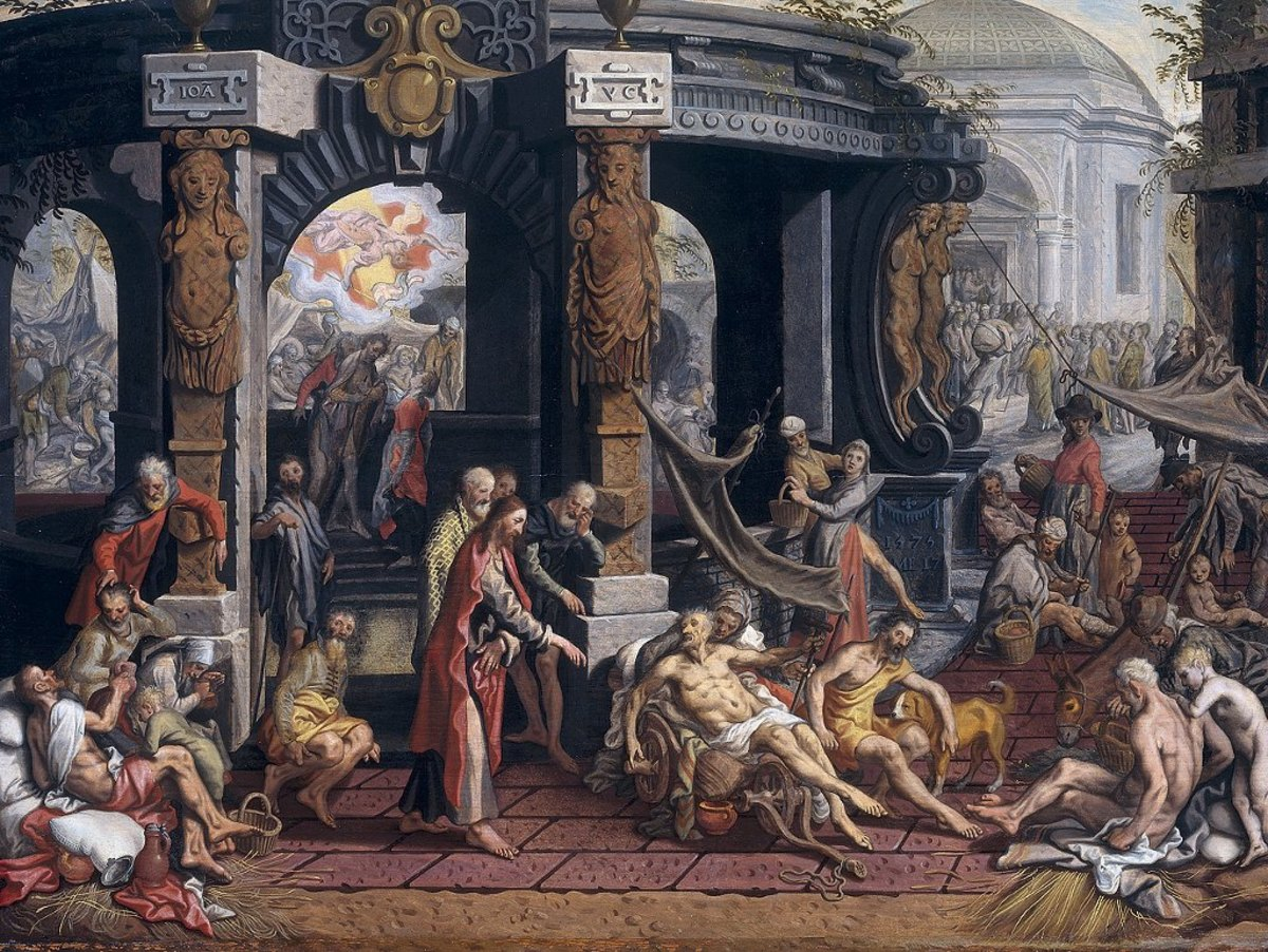 The Healing of the Cripple of Bethesda, Pieter Aertsen (1507-1575) painted a few weeks prior to his death.