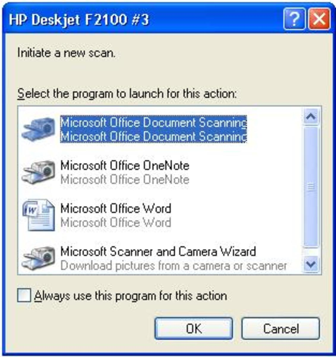 Select Microsoft Office Document Imaging