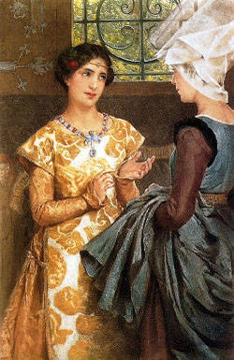 Katharine learns English from her gentlewoman Alice in an 1888 lithograph by Laura Alma-Tadema. Act III, Scene iv.
