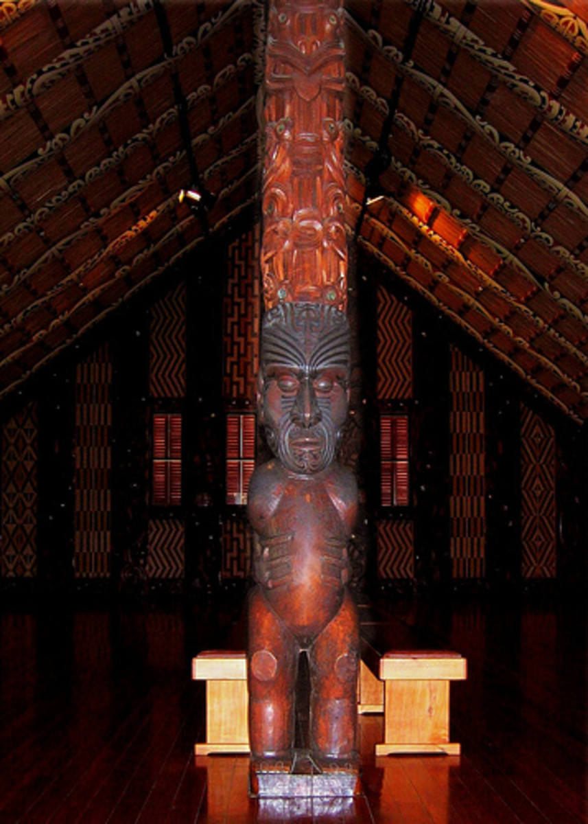 Inside Te Whare Runanga Maori meeting/community house in New Zealand at Waitangi Treaty Grounds.