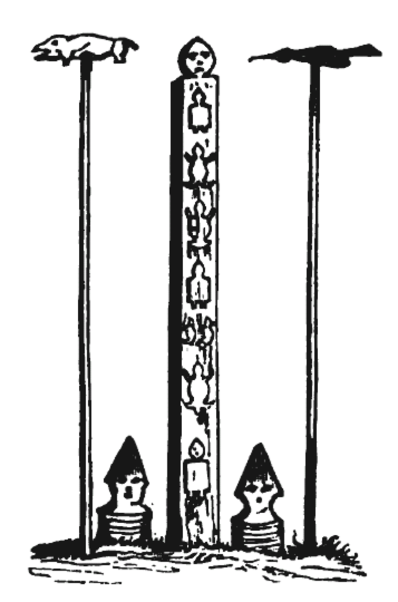 Carved poles in Amur, Siberia, Russia. These are the Goldi Poles of the Nanai people, sketched by an artist in the middle 1800s.