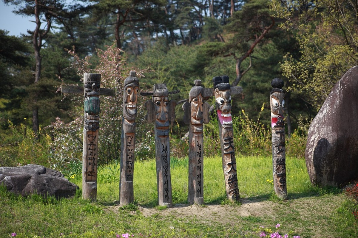 Traditional Korean carved poles.