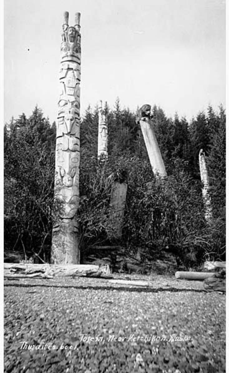 A Tlingit pole in Ketchikan, Alaska. Photo taken in 1912.