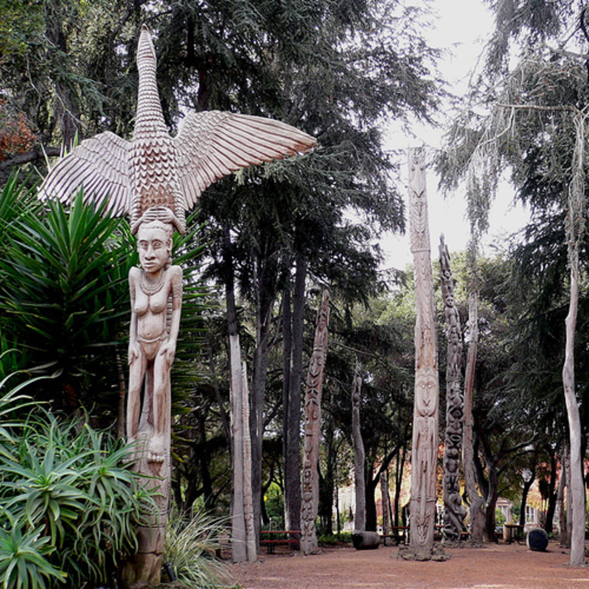 Traditional Papua New Guinean poles displayed at Stanford University. Carved and sculpted poles have been created for millennia around the Pacific Rim and in other places.