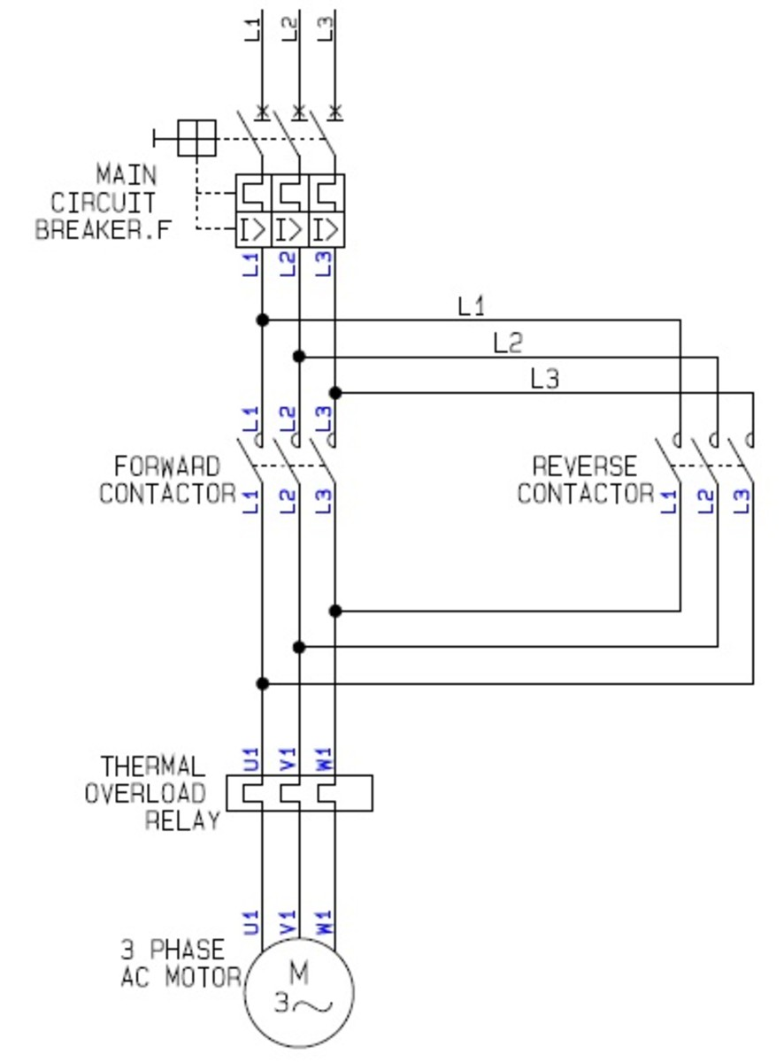 Single phase reversing contactor wiring diagram get free for Forward reverse dc motor control circuit