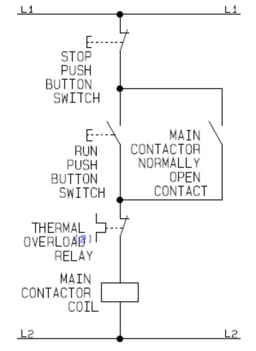 Direct On Line (DOL) Control Circuit Diagram | Source: CAD drawing by ianjonas