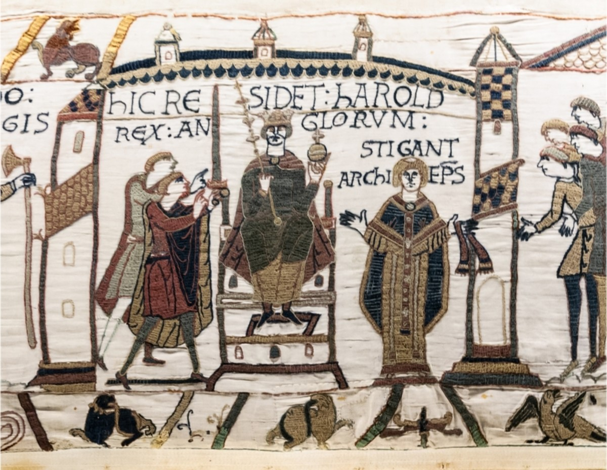 The Bayeux Tapestry version of Harold's crowning, January 1st, 1066 by modern calendars