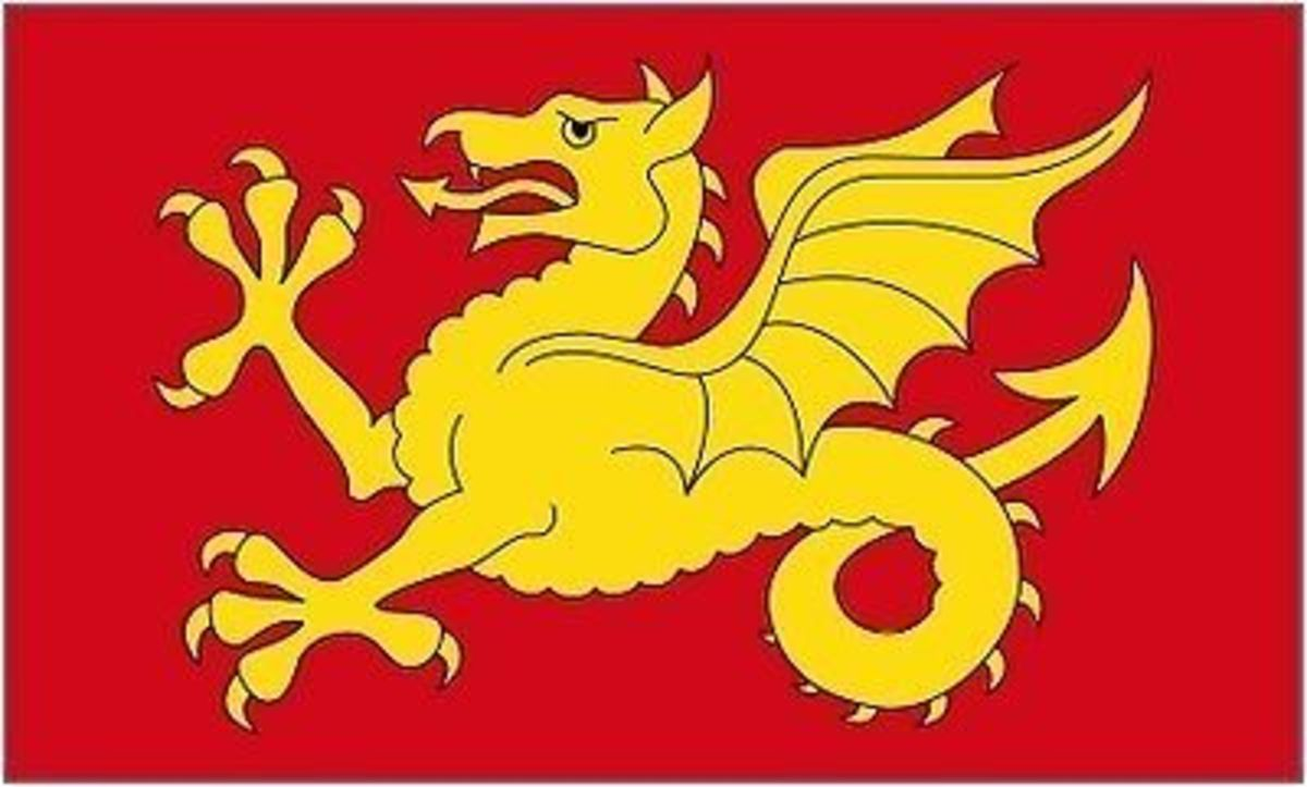 Modern Wessex Wyvern banner, based on an  earlier version
