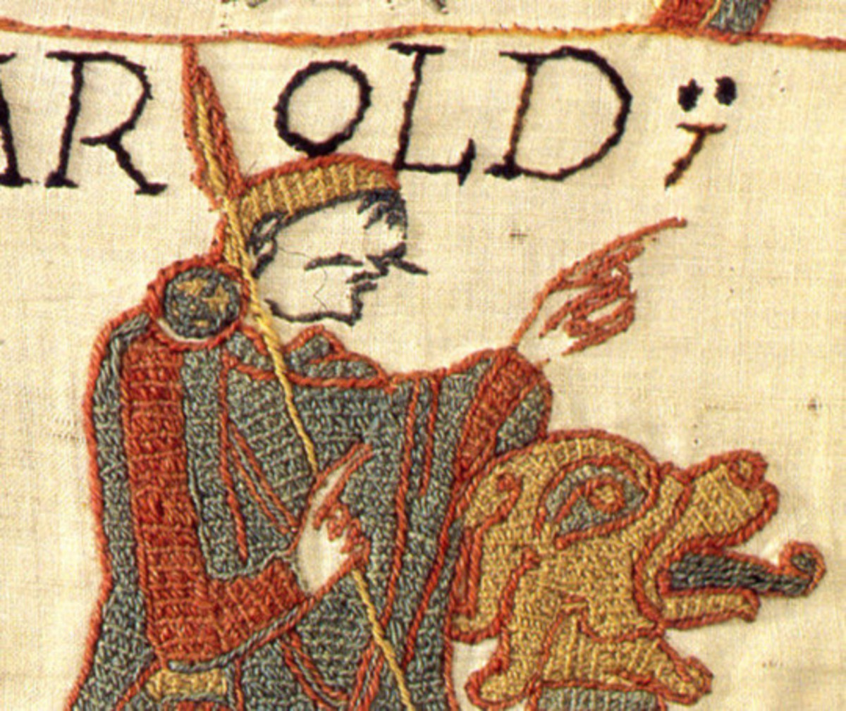 Harold with hunting hound in another scene on the Bayeux banner-tapestry