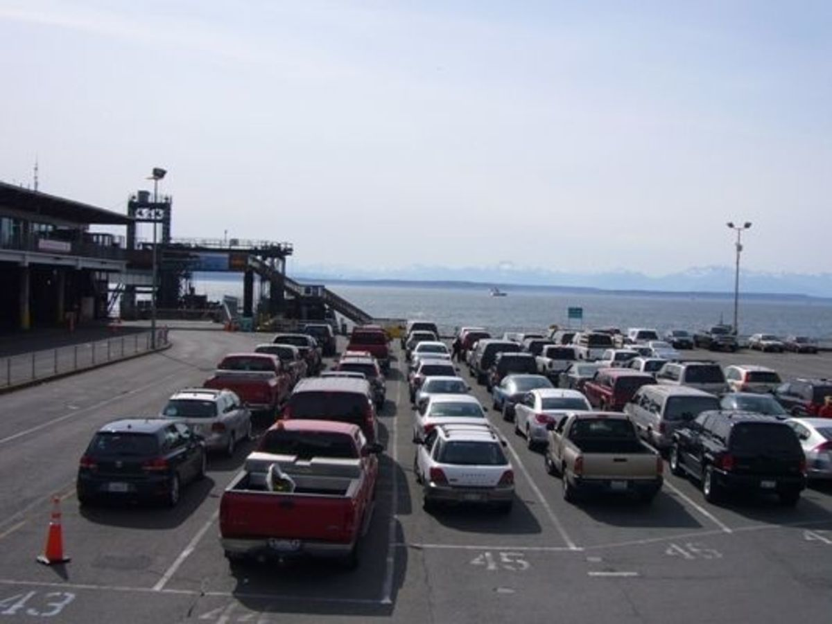 The vehicle waiting area at the Colman dock.  During peak travel times, there can be long wait times.