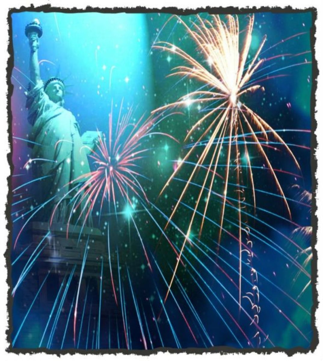 4th of July Fireworks Clip Art Statue of Liberty
