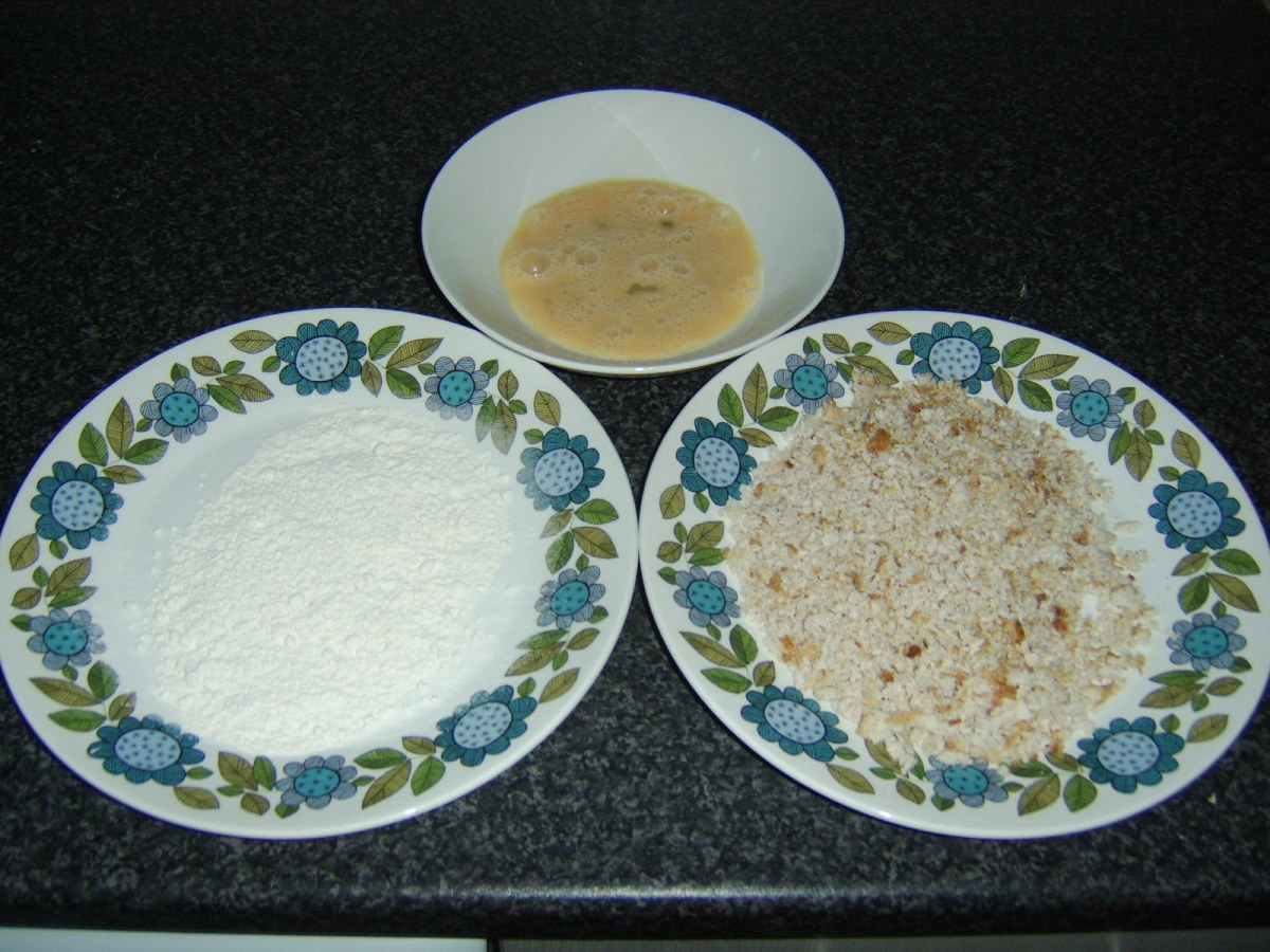 Flour, egg and breadcrumbs are used to give the fillet its crunchy coating