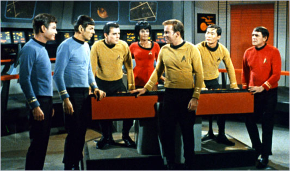 The bridge crew of Star Trek.