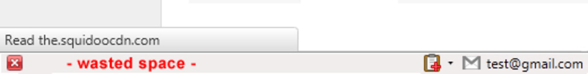Firefox 4 Add-on Bar and the URL status tooltip above it.