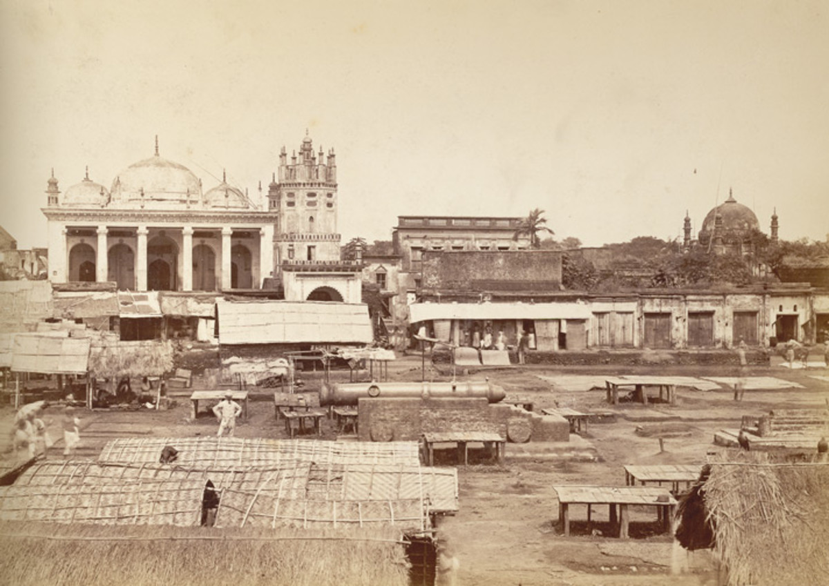 The 'Chowk' or market place of Dacca; a photo by Johnston and Hoffman, 1880