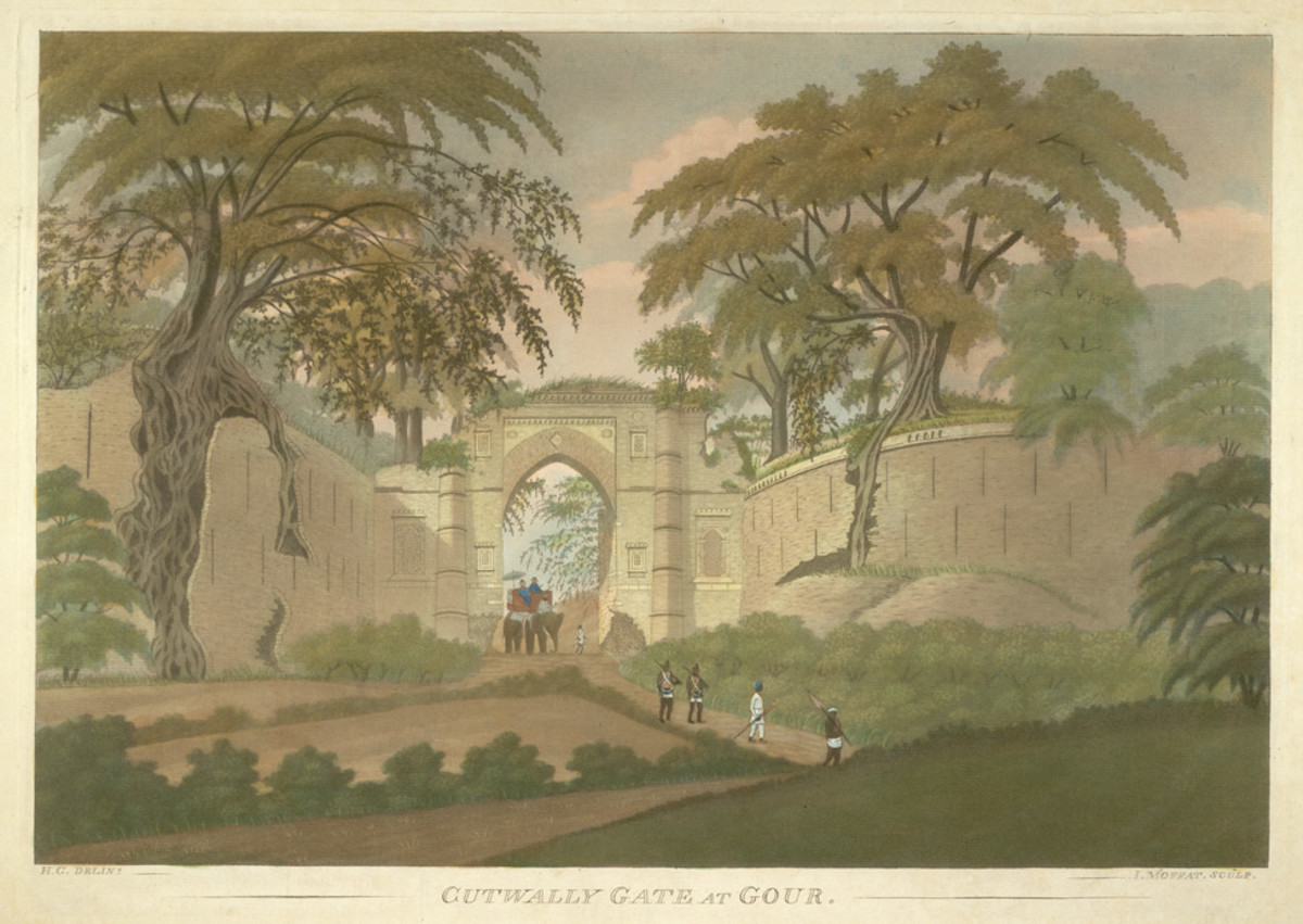 Cutwally (Kotwali) Gate at Gour, an aquatint by James Moffatt, 1808
