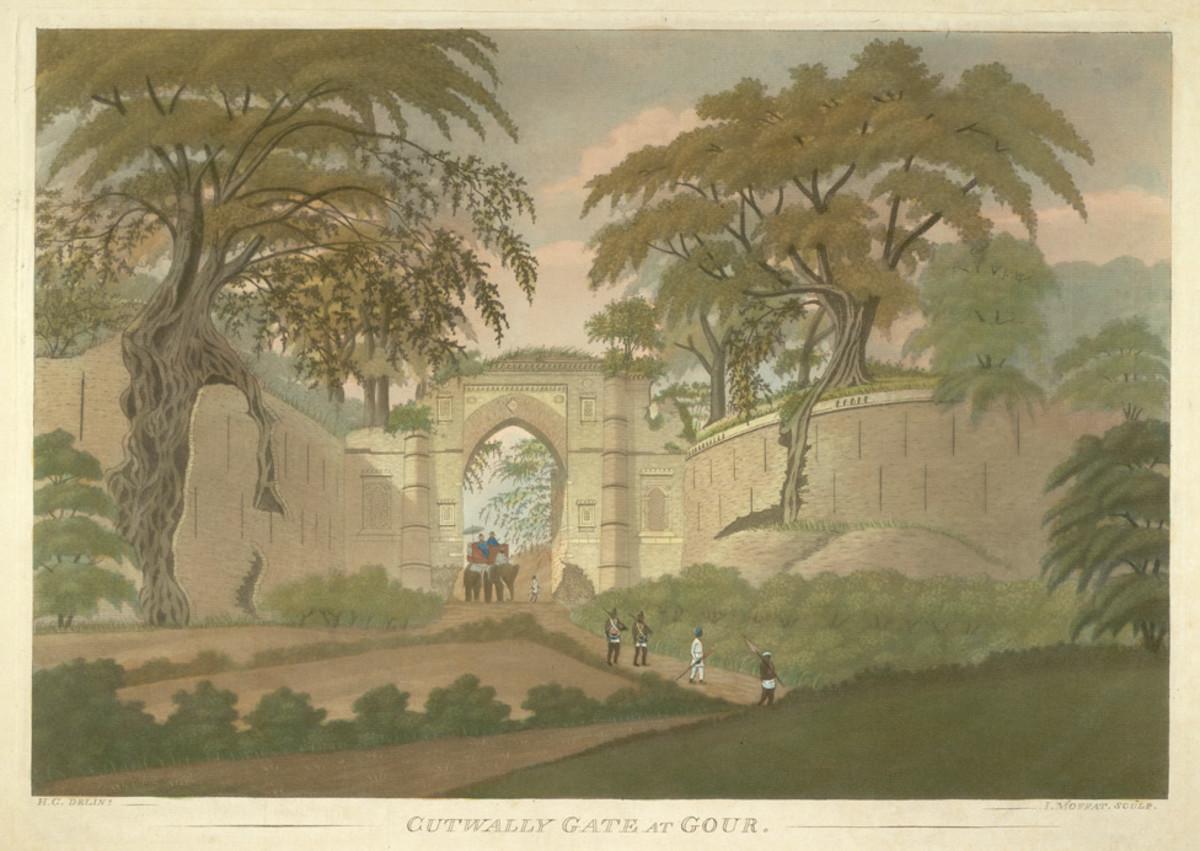 Cutwally (Kotwali) Gate at Gour, an aquatint by James Moffatt, 1808