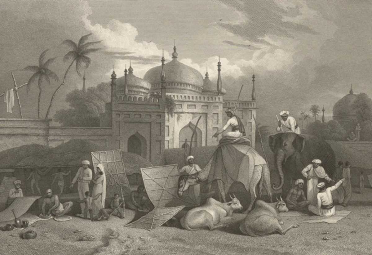 The Chouk (or Marketplace) and Husseinee Delaun; by Charles D'Oyoy, 1827