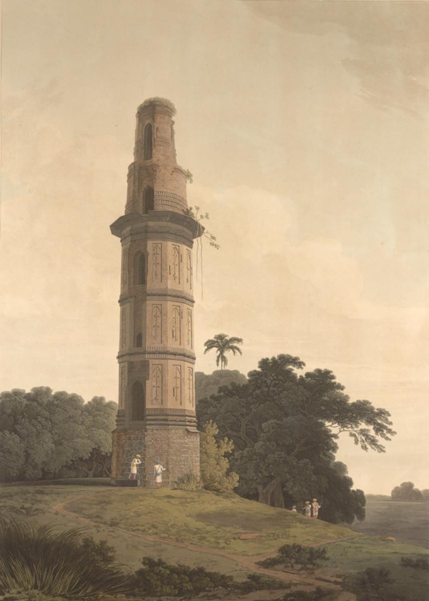 Firoz Shah Minar,  by Thomas Daniell, 1804