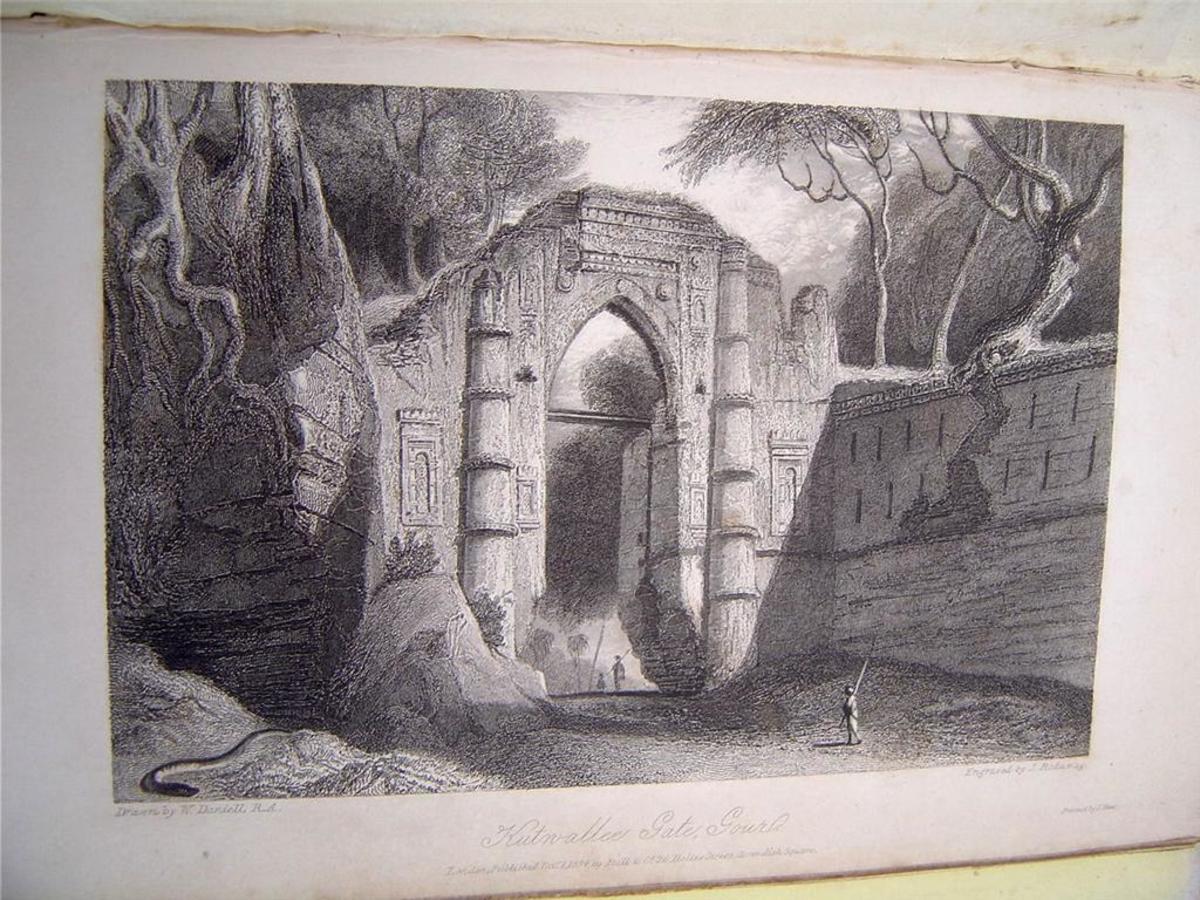 """Kutwallee Gate"" by Thomas Daniell, 1835"