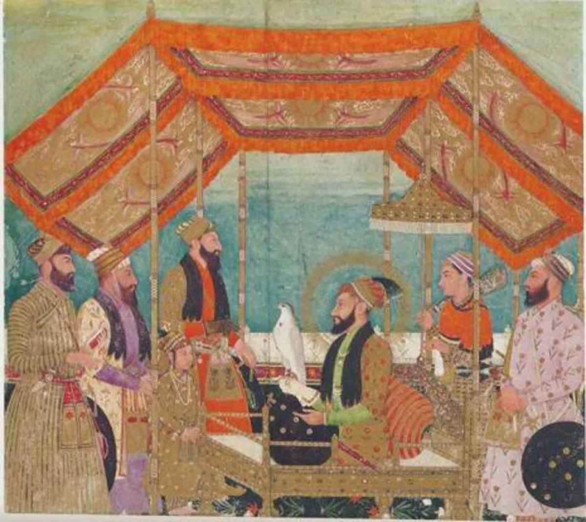 Young Prince Mohammad Azam with his father Emperor Aurangzeb Alamgir, Man standing behind the emperor is Shaista Khan (purple dress).