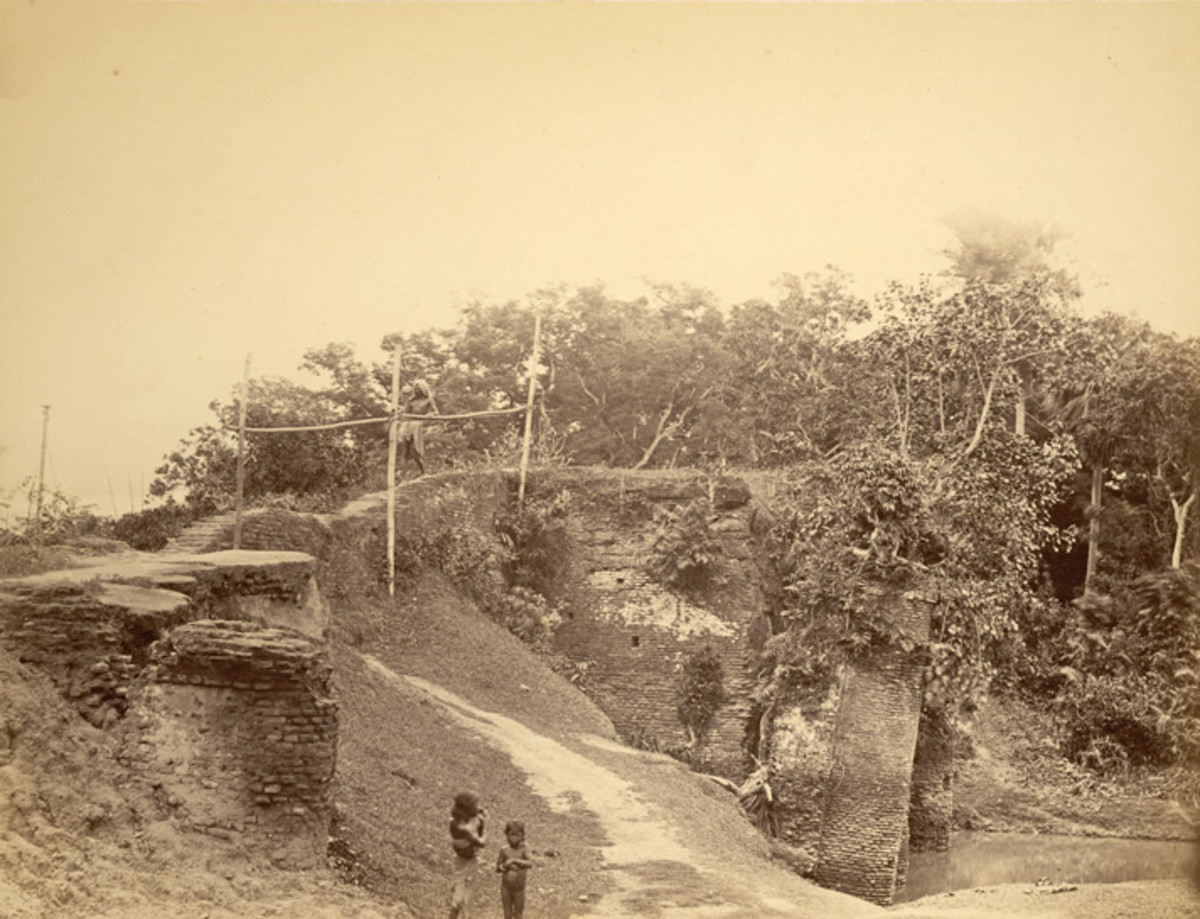 View looking over a bridge, Sonargaon, 1870