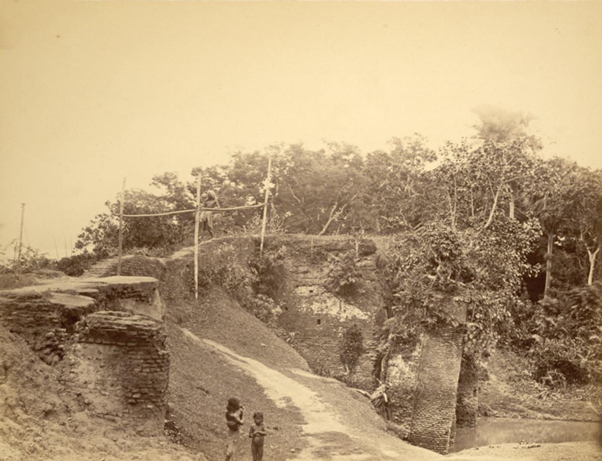 View looking over a bridge, Sonargaon, 1870