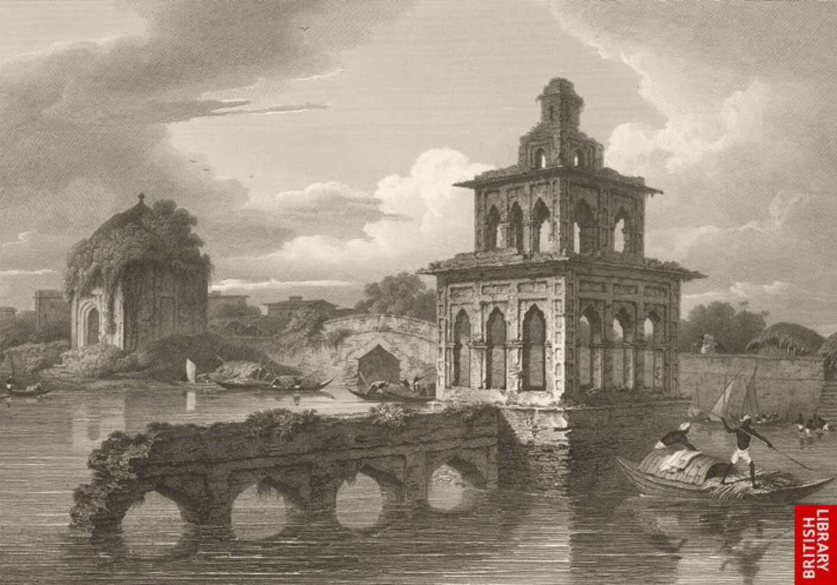A Mughal structure in the middle of water, Perhaps Built to spend leisure time, By Charles D'Oyly