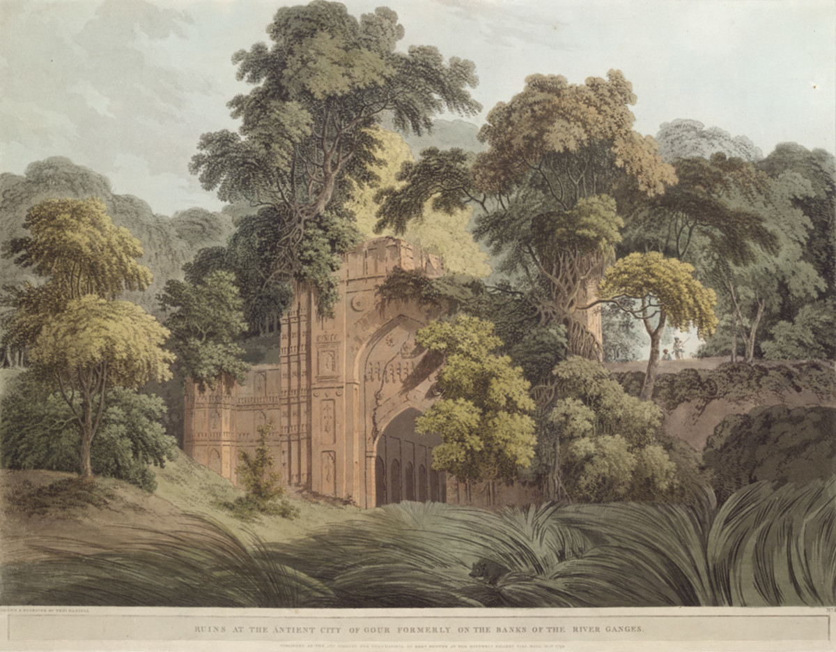 Ruins at the Antient City of Gour formerly on the Banks of the River Ganges; an aquatint by Thomas Daniell, 1795