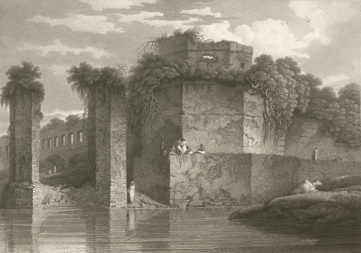 Bastion of the Lal Bagh, Dacca; an etching by Charles D'Oyly, 1816 ( this part no more exists )