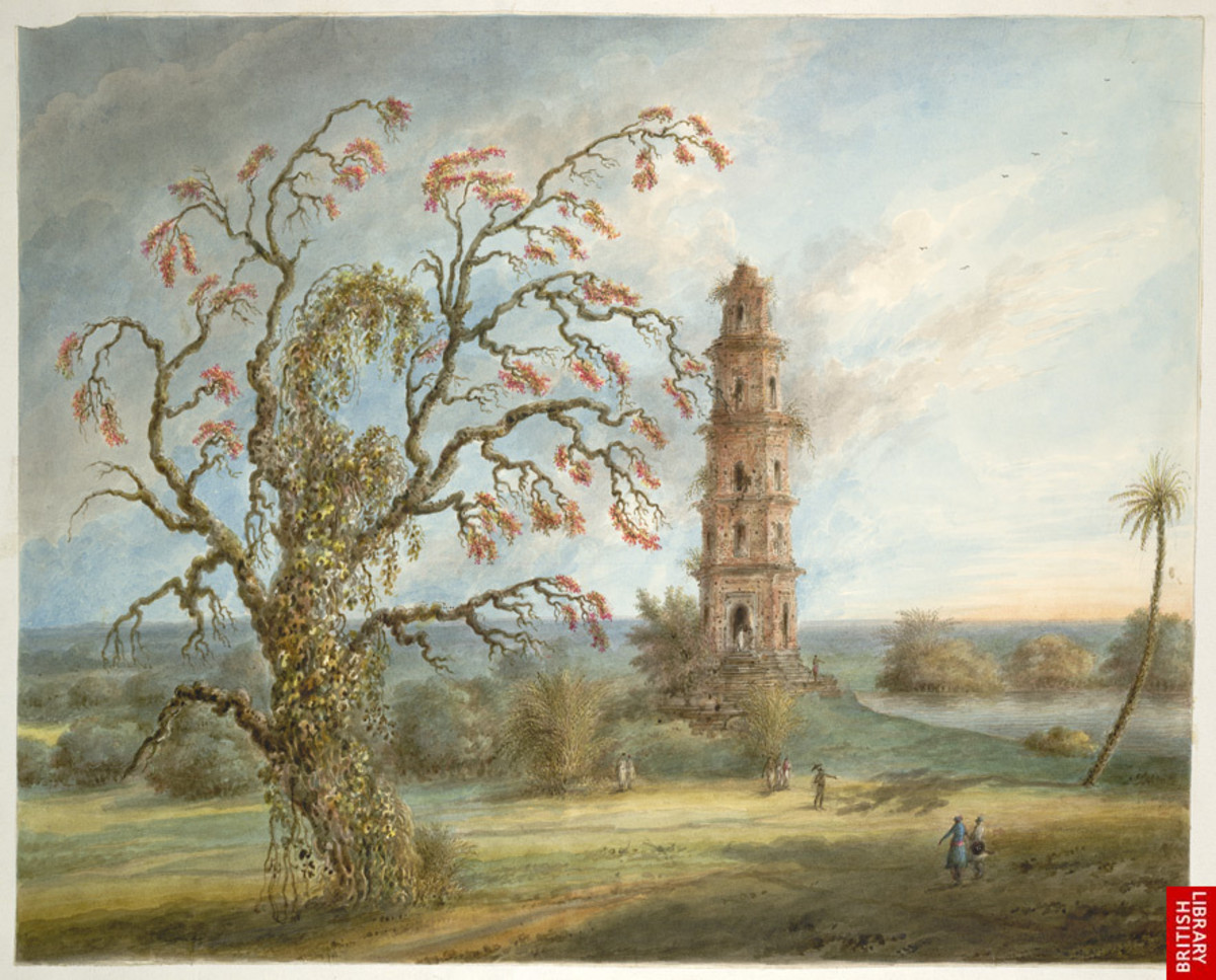 Pir Asa Minar or Firoz Shah Minar; a watercolor by Seeta Ram, 1817-21