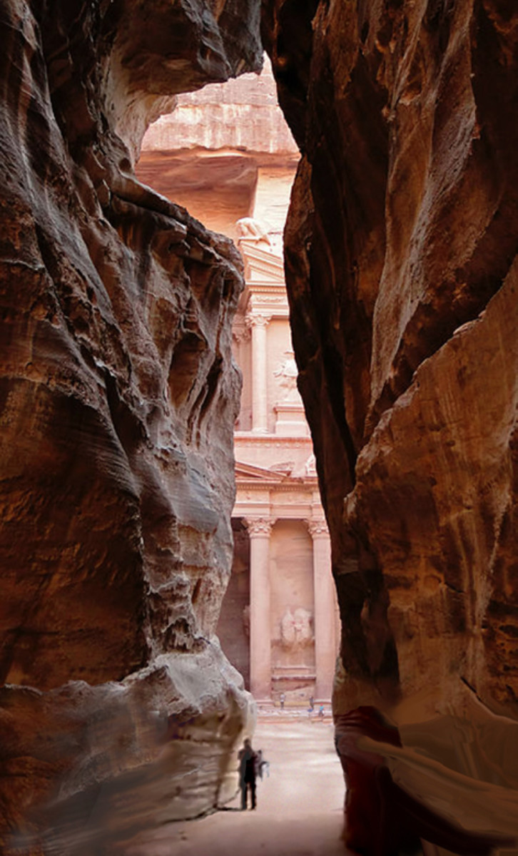 "A view of the Treasury from the ""Siq."" [Photo & Permission via Wikipedia Commons by Bernard Gagnon]"