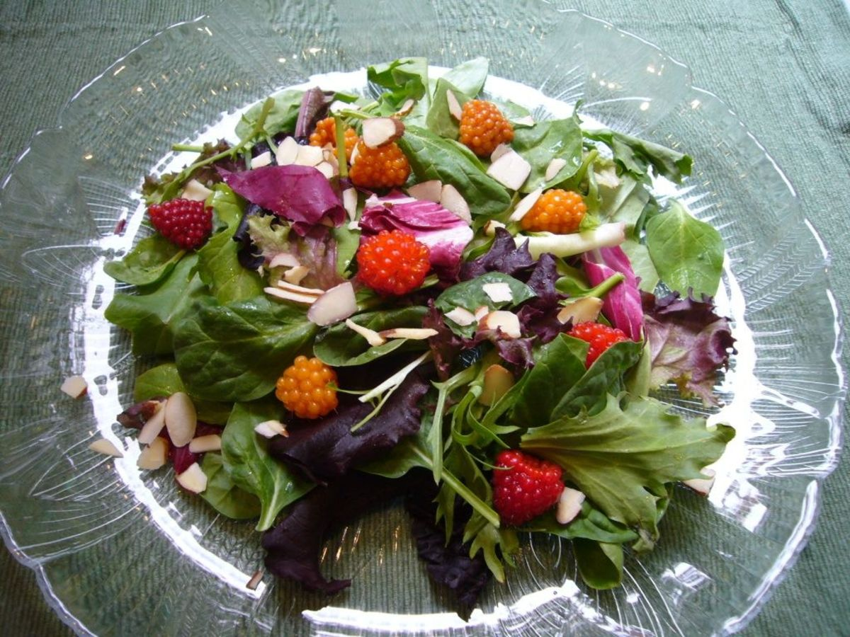 Spring Greens and Salmonberry Salad
