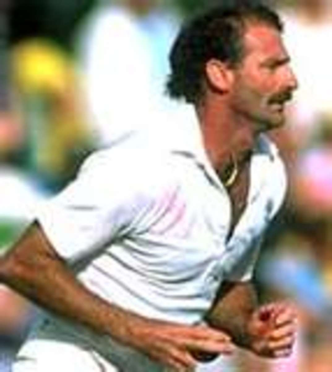 Dennis Lillee at the start of his run-up